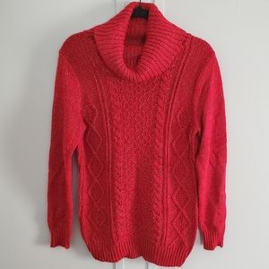 NY & Co Red and Silver Turtleneck Sweater